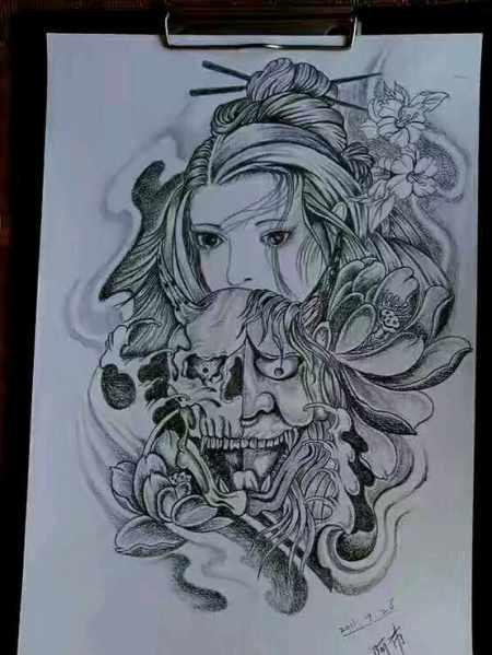 艺妓般若面具创意纹身图案图片